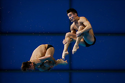 Tom Daley (L) and Daniel Goodfellow of Great Britain compete in the Mens 10m Platfom Final going on to win the Silver Medals - Mandatory byline: Rogan Thomson/JMP - 12/05/2016 - DIVING - London Aquatics Centre - Stratford, London, England - LEN European Aquatics Championships 2016 Day 4.