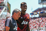 Manchester United Midfielder Paul Pogba shares a joke during the AON Tour 2017 match between Real Madrid and Manchester United at the Levi's Stadium, Santa Clara, USA on 23 July 2017.