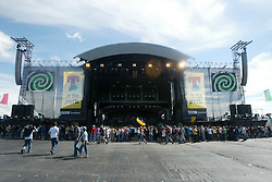 The main stage area on the morning of Sunday 10th July, 2005 at the two-day T in the Park festival, at Balado, Kinross-shire, Scotland..