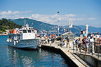 Water taxi at port in Santa Margherite Ligure, Liguria, Italy