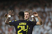 Harry Kane celebrates his goal during the Champions League match between Real Madrid and Tottenham Hotspur at the Santiago Bernabeu Stadium, Madrid, Spain on 17 October 2017. Photo by Ahmad Morra.