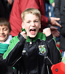 A North Ferriby United supporter celebrates at Wembley Stadium - Photo mandatory by-line: Paul Knight/JMP - Mobile: 07966 386802 - 29/03/2015 - SPORT - Football - London - Wembley Stadium - North Ferriby United v Wrexham - FA Trophy