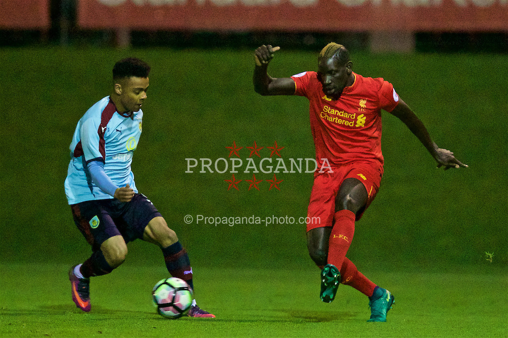 KIRKBY, ENGLAND - Wednesday, November 23, 2016: Liverpool's Mamadou Sakho in action against Burnley during the Lancashire Senior Cup 2nd Round match at the Academy. (Pic by David Rawcliffe/Propaganda)