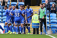 Aron Gunnarsson of Cardiff city (17) celebrates with teammates after he scores his teams 1st goal. EFL Skybet championship match, Cardiff city v Nottingham Forest at the Cardiff City Stadium in Cardiff, South Wales on Easter Monday 17th April 2017.<br /> pic by Andrew Orchard, Andrew Orchard sports photography.