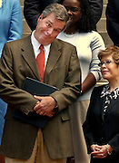 TALLAHASSEE, FL. 4/8/04-Gov. Jeb Bush makes a face at students attending a news conference on reducing underage drinking, Thursday at the Capitol in Tallahassee. Bush, with his wife Columba, right, awarded more than $205,000 in grant money to six communities, one of those being Tampa, to boost their efforts at curbing underage drinking. COLIN HACKLEY PHOTO