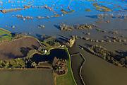 Nederland, Gelderland,  Gemeente Voorst, 20-01-2011; Slot Nijenbeek (ook: Kasteel Nijenbeek of Het Hooge Huis), bij hoogwater van de IJssel en ondergelopen uiterwaarden. gezien naar de oostoever van de rivier...Castle Nijenbeek in the middle of the high waters of the river IJssel..luchtfoto (toeslag), aerial photo (additional fee required).copyright foto/photo Siebe Swart