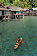 Dugout Canoe<br /> Local Papuan village<br /> Cenderawasih Bay<br /> West Papua<br /> Indonesia