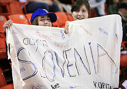 Canadian girls cheer for Slovenian team, specially they love Anze Kopitar, at ice-hockey game Slovenia vs Slovakia at Relegation  Round (group G) of IIHF WC 2008 in Halifax, on May 09, 2008 in Metro Center, Halifax, Nova Scotia, Canada. Slovakia won 5:1. (Photo by Vid Ponikvar / Sportal Images)