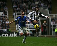 Photo: Andrew Unwin.<br />Newcastle Utd v Birmingham City. The Barclays Premiership. 05/11/2005.<br />Newcastle's Nolberto Solano (R) on the ball.