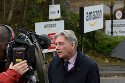 Scottish Labour leader held a media briefing at the Inverclyde warehouse of Amazon calling for multinational businesses to pay their fair share of taxes and look after workers rights.<br /> <br /> © Dave Johnston / EEm