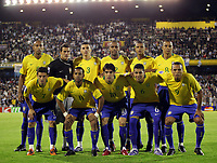 ARGENTINA Vs BRAZIL in the South American Soccer derby for the FIFA World Cup S.Africa 2010 Qualification round.<br /> Brazilian STARTING TEAM.<br /> Up f. Lefto to Right = LUISAO - JULIO CESAR - LUCIO - MAICON - FELIPE MELO - GILBERTO SILVA<br /> Down f. L to Right = ELANO - ROBINHO - KAKA - ANDREE SANTOS - LUIS FABIANO.<br /> Rosario , Argentina Septiembre 05, 2009<br /> © PikoPress