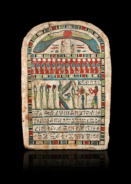 Ancient Egyptian stele dedicated to Re-Harakhty by Irtiertjay,  Late Period, 25th Dynasty, (7620-580 BC), Thebes, Cat 1530. Egyptian Museum, Turin. black background,<br /> <br /> The round topped stele dedicated by Irtiertjay to Re-Harakhty , Isis and the 4 sons of Horus. Gifted by the Cairo Museum .<br /> <br /> If you prefer to buy from our ALAMY PHOTO LIBRARY  Collection visit : https://www.alamy.com/portfolio/paul-williams-funkystock/ancient-egyptian-art-artefacts.html  . Type -   Turin   - into the LOWER SEARCH WITHIN GALLERY box. Refine search by adding background colour, subject etc<br /> <br /> Visit our ANCIENT WORLD PHOTO COLLECTIONS for more photos to download or buy as wall art prints https://funkystock.photoshelter.com/gallery-collection/Ancient-World-Art-Antiquities-Historic-Sites-Pictures-Images-of/C00006u26yqSkDOM