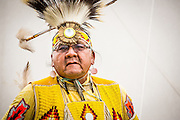 Native American dancer portrait at Cheyenne Frontier Days in Cheyenne, Wyoming on July 18, 2014.