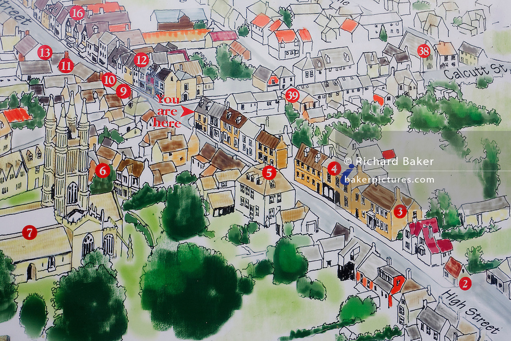 A map of the Gloucestershire village of Cricklade showing where visitors reading this map are situated in the High Street of this village on the narrows River Thames that eventually flows to London. Cricklade is a small town in north Wiltshire in England on the Thames, situated midway between Swindon and Cirencester and near the river's source at Lechlade.