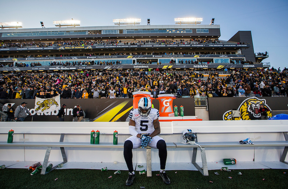 Toronto Argonauts Jermaine Gabriel sits on the bench after his team lost to the Hamilton Tiger-Cats in their CFL eastern semi-final playoff football game in Hamilton, Ontario, Canada, November 15, 2015.    REUTERS/Mark Blinch