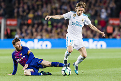 May 6, 2018 - Barcelona, Catalonia, Spain - FC Barcelona forward Lionel Messi (10) and Real Madrid midfielder Luka Modric (10) during the match between FC Barcelona v Real Madrid, for the round 36 of the Liga Santander, played at Camp nou  on 6th May 2018 in Barcelona, Spain. (Credit Image: © Urbanandsport/NurPhoto via ZUMA Press)