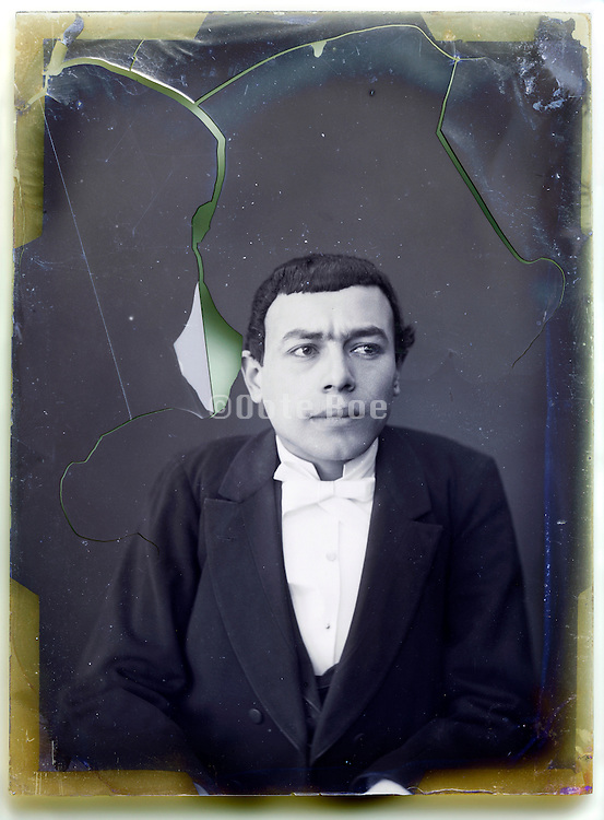glass plate with broken emulsion of mime comedian