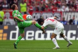 06.08.2011,  Rhein Energie Stadion, Koeln, GER, 1.FBL, 1. FC Koeln vs Vfl Wolfsburg, im Bild.Patrick Ochs (Wolfsburg #2) (L) gegen Christian Eichner (Koeln #4) (R)..// during the 1.FBL, 1. FC Koeln vs Vfl Wolfsburg on 2011/08/06, Rhein-Energie Stadion, Köln, Germany. EXPA Pictures © 2011, PhotoCredit: EXPA/ nph/  Mueller *** Local Caption ***       ****** out of GER / CRO  / BEL ******