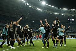 (L-R) Zakaria Labyad of Ajax, Noussair Mazraoui of Ajax, Dusan Tadic of Ajax, Maximilian Wober of Ajax, Daley Blind of Ajax, Donny van de Beek of Ajax, Ajax goalkeeper Kostas Lamprou, Dani de Wit of Ajax, Matthijs de Ligt of Ajax, Mitchell Bakker of Ajax, Kaj Sierhuis of Ajax during the UEFA Champions League play offs round second leg match between Dynamo Kyiv and Ajax Amsterdam at the NSK Olimpiyskyi on August 28, 2018 in Kyiv, Ukraine