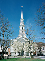United Church & Gazebo, Central Square, Keene, New Hampshire  - early spring.