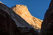 Sunset in Capitol Gorge, Capitol Reef National Park, Utah, USA. Capitol Gorge was the original route for travelers through Waterpocket Fold before State Route 24 cut along Fremont River.