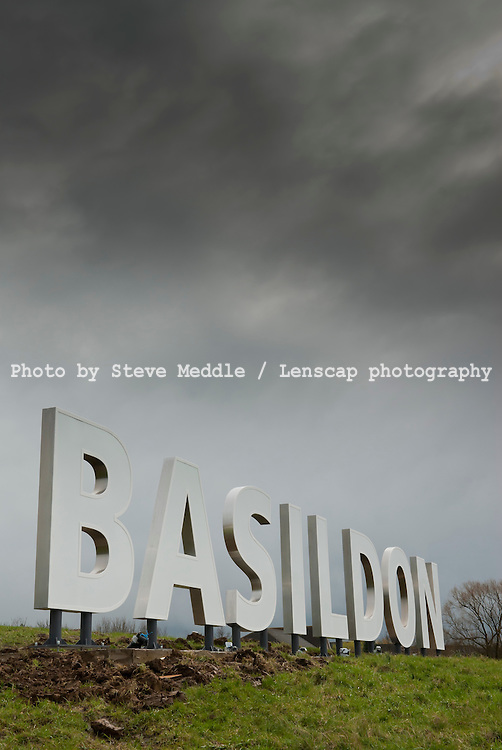 Hollywood Style Sign in Basildon, Essex, Britain - 31st March 2010.The Five foot tall sign sits on the side of the A127 which links London to Southend and is to attract new business to the area.