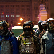 January 29, 2014 - Kiev, Ukraine: A group of right-wing movement practice combat tactics ahead of their shift guarding Maidan barricades. (Paulo Nunes dos Santos)