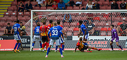 31JUL21 Queen of the South's Ruari Paton scoring their second goal. Partick Thistle 3 v 2 Queen of the South. First Scottish Championship game of the season.