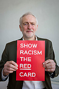Labour leader Jeremy Corbyn shows racism the red card at an event at Arsenal's  Emirates stadium, Islington, London, UK. 8th February 2018.