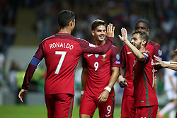 August 31, 2017 - Porto, Portugal - Portugal's forward Cristiano Ronaldo celebrates with teammates after scoring during the 2018 FIFA World Cup qualifying football match between Portugal and Faroe Islands at the Bessa XXI stadium in Porto, Portugal on August 31, 2017. (Credit Image: © Pedro Fiuza/NurPhoto via ZUMA Press)