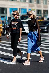 Street style, Trine Kjaer and Linda Tol arriving at Michael Kors Spring Summer 2017 show held at Spring Studios, 50 Varick Street, in New York, USA, on September 14, 2016. Photo by Marie-Paola Bertrand-Hillion/ABACAPRESS.COM