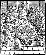 Pope Leo X  (Giovanni de' Medici 1475-1521, Pope from 1513) supervising the burning of Martin Luther's books after the first Diet of Worms, 1521.  Woodcut.