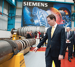RE-ISSUE NOTE THIS IS A TODAY PICTURE © London News Pictures. 10/03/2012. Newcastle, UK. Liberal Democrat leader NICK CLEGG on a tour of Siemens Energy Service Training Centre in Newcastle Upon Tyne on March 11th 2012 where he met craft apprentices with Business Secretary VINCE CABLE. The Liberal Domocrat Spring Conference is being held in Newcastle this weekend. Photo credit : Ben Cawthra/LNP