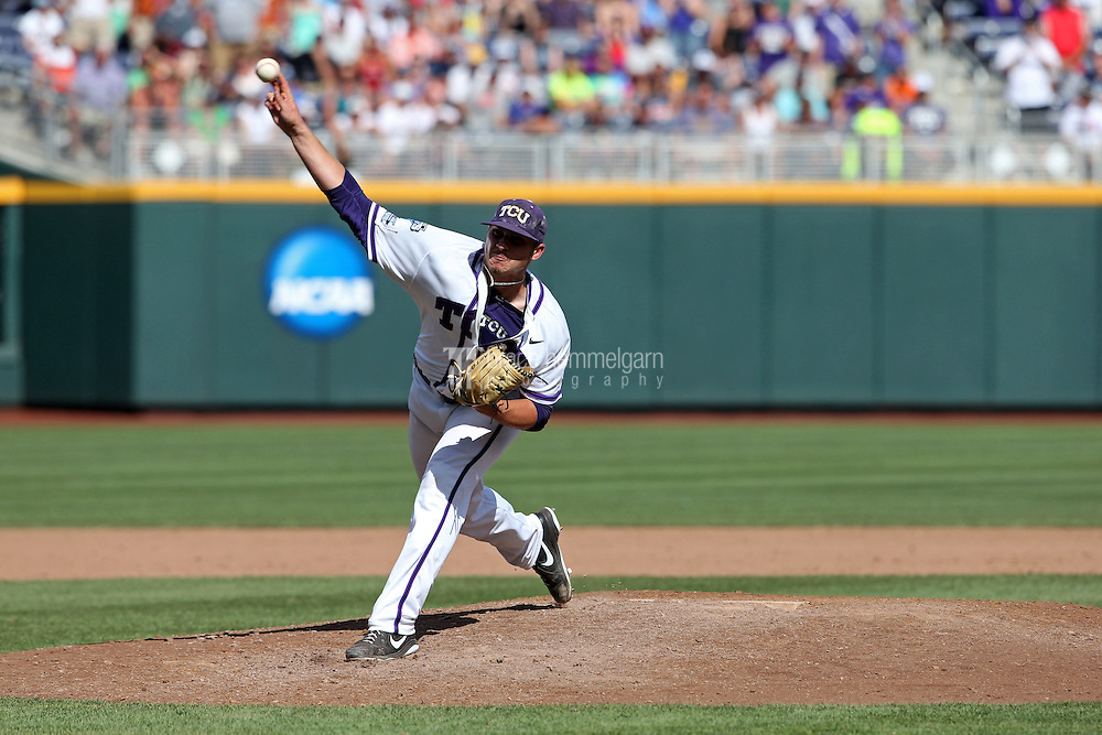 Riley Ferrell #12 of the TCU Horned Frogs pitches during Game 3 of the 2014 Men's College World Series between the Texas Tech Red Raiders and TCU Horned Frogs at TD Ameritrade Park on June 15, 2014 in Omaha, Nebraska. (Brace Hemmelgarn)