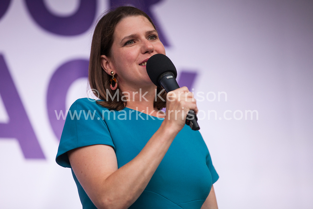 London, UK. 4 September, 2019. Jo Swinson, Leader of the Liberal Democrats, addresses Remain supporters at a Defend Our Democracy rally in Parliament Square shortly after MPs passed the Brexit delay bill in the House of Commons.