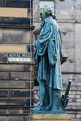 Statue of Adam Smith on the Royal Mile ( High Street) in Edinburgh Old Town, Scotland, UK