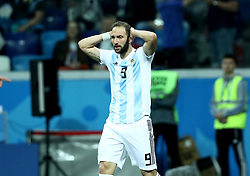 June 21, 2018 - Nizhny Novogorod, Russia - Group D Argentina v Croazia - FIFA World Cup Russia 2018.Disappointment of Gonzalo Higuain (Argentina) at Nizhny Novgorod Stadium, Russia on June 21, 2018. (Credit Image: © Matteo Ciambelli/NurPhoto via ZUMA Press)