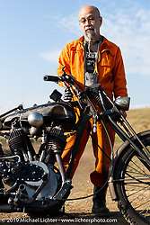 Master Hidefumi Tateishi with his custom Harley-Davidson 1929 JD at the Okie Dokie Vintage Races put on by Go Takamine's Brat Style at West Point Off-Road Village, Kawagoe, Saitama, Japan. Tuesday, December 4, 2018. Photography ©2018 Michael Lichter.