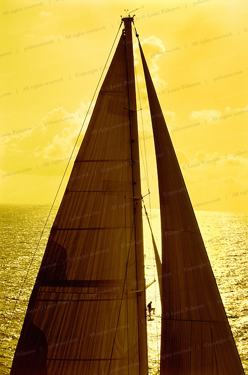 Hyperion, widely considered one of the world's finest sailing yachts, built by the Royal Huisman Shipyard in Vollenhove, Holland. An elevator-like crow's nest can take up to three guests to the third spreader, 120 feet above the water.