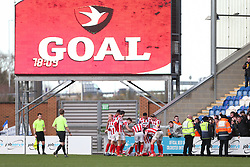 Chris Hussey of Cheltenham Town celebrates scoring to make it 0-2 - Mandatory by-line: Arron Gent/JMP - 29/02/2020 - FOOTBALL - JobServe Community Stadium - Colchester, England - Colchester United v Cheltenham Town - Sky Bet League Two