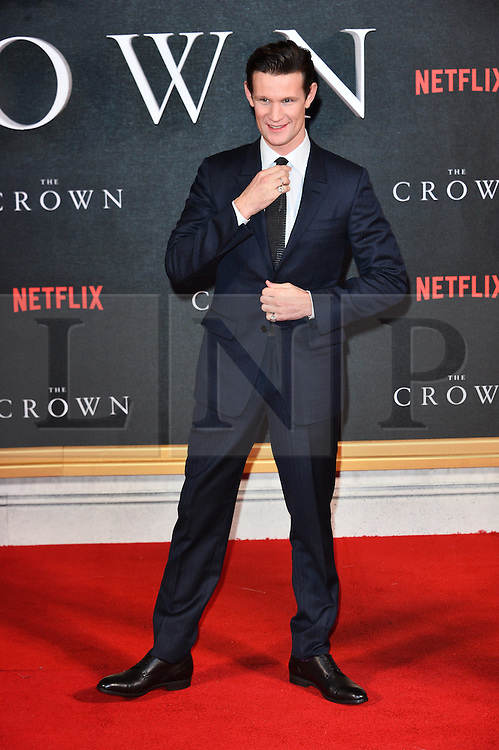 © Licensed to London News Pictures. 01/12/2016. MATT SMITH attends the TV premiere of the new Netflix series The Crown about the reign of Queen Elizabeth II. London, UK. Photo credit: Ray Tang/LNP