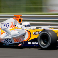 Renault Formula 1 car on the Hungarian F1 race track Hungaroring at Mogyorod. Hungary. Sunday, 06. July 2008. ATTILA VOLGYI