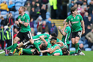 Sean Raggett of Lincoln City (on ground unseen) celebrates with his teammates after he scores his teams 1st goal. The Emirates FA cup 5th round match, Burnley v Lincoln City at Turf Moor in Burnley, Lancs on Saturday 18th February 2017.<br /> pic by Chris Stading, Andrew Orchard Sports Photography.