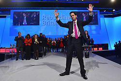 © Licensed to London News Pictures. 02/10/2012. Manchester, UK Ed Miliband, Labour Party leader makes his leaders speech on Day 3 at The Labour Party Conference at Manchester Central today 2nd COtober 2012. Photo credit : Stephen Simpson/LNP