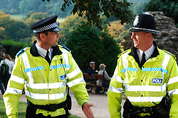 Policeman and Community Support Officer patrolling the streets of Knaresborough Yorkshire; UK