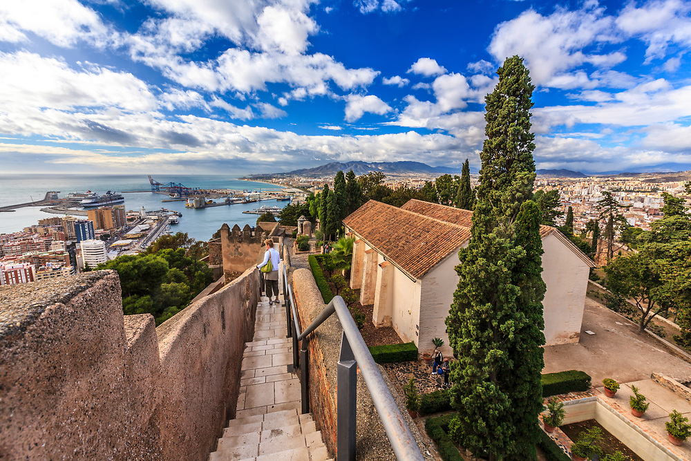 A view from the old Muslim castle, known as the Gibralfaro, in Malaga, Spain.