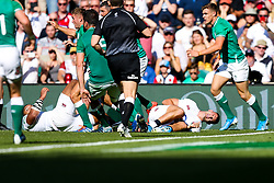 Jonny May of England goes down wincing - Rogan/JMP - 24/08/2019 - RUGBY UNION - Twickenham Stadium - London, England - England v Ireland - Quilter Series.