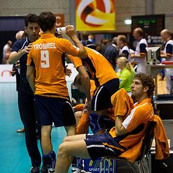 12-09-2010 VOLLEYBAL: EK KWALIFICATIE NEDERLAND - ESTLAND: ROTTERDAM<br /> Spelers van Nederland zijn teleurgesteld na het verliezen van de wedstrijd, Yannick van Harskamp<br /> ©2010-WWW.FOTOHOOGENDOORN.NL / Peter Schalk
