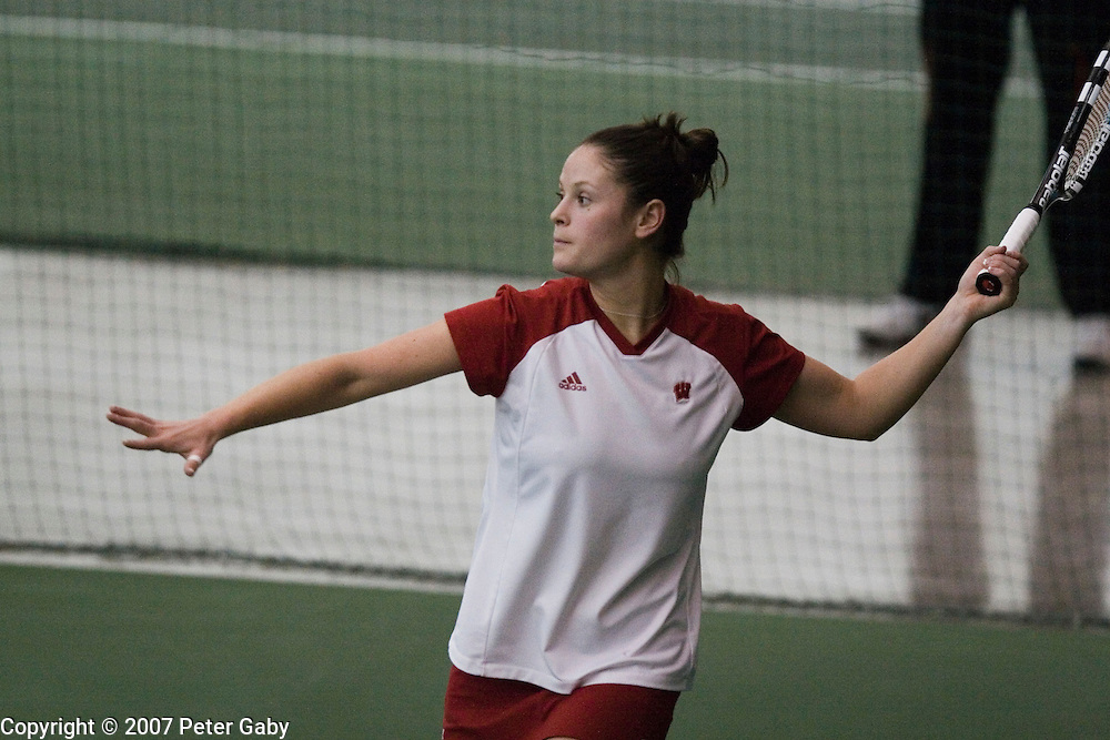 Caitlin Burke during singles play at the 2007 USTA/ITA National Women's Team Indoor Championships at the Nielsen Tennis Stadium, Feb. 1st-4th hosted by the University of Wisconsin.