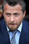 Fulham Manager Slavisa Jokanovic looks on prior to kick off. EFL Skybet football league championship match, Fulham  v Norwich city at Craven Cottage in London on Saturday 5th August 2017.<br /> pic by Steffan Bowen, Andrew Orchard sports photography.